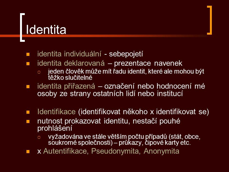Identita identita individuální - sebepojetí identita deklarovaná – prezentace navenek  jeden člověk může mít řadu identit, které ale mohou být těžko slučitelné identita přiřazená – označení nebo hodnocení mé osoby ze strany ostatních lidí nebo institucí Identifikace (identifikovat někoho x identifikovat se) nutnost prokazovat identitu, nestačí pouhé prohlášení  vyžadována ve stále větším počtu případů (stát, obce, soukromé společnosti) – průkazy, čipové karty etc.