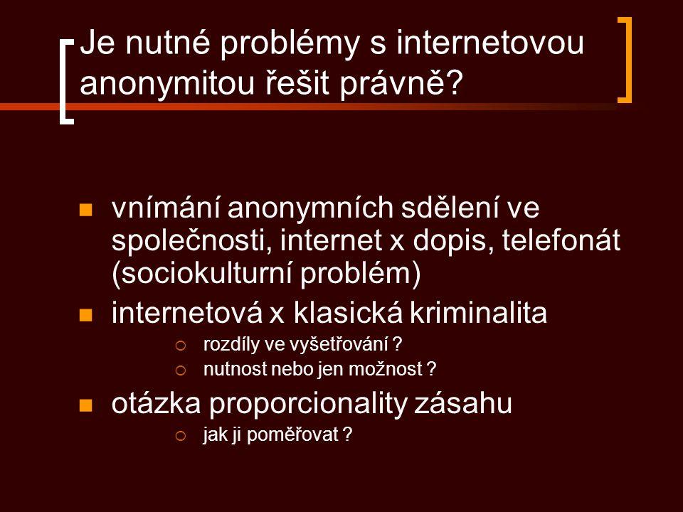 Je nutné problémy s internetovou anonymitou řešit právně? vnímání anonymních sdělení ve společnosti, internet x dopis, telefonát (sociokulturní problé