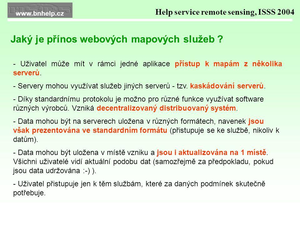 WMS OPRL v okně internetové aplikace Intergraph - WMS Viewer spolu s dalšími zdroji WMS Help service remote sensing, ISSS 2004 Praktická využití webových služeb v GIS aplikacích www.bnhelp.cz