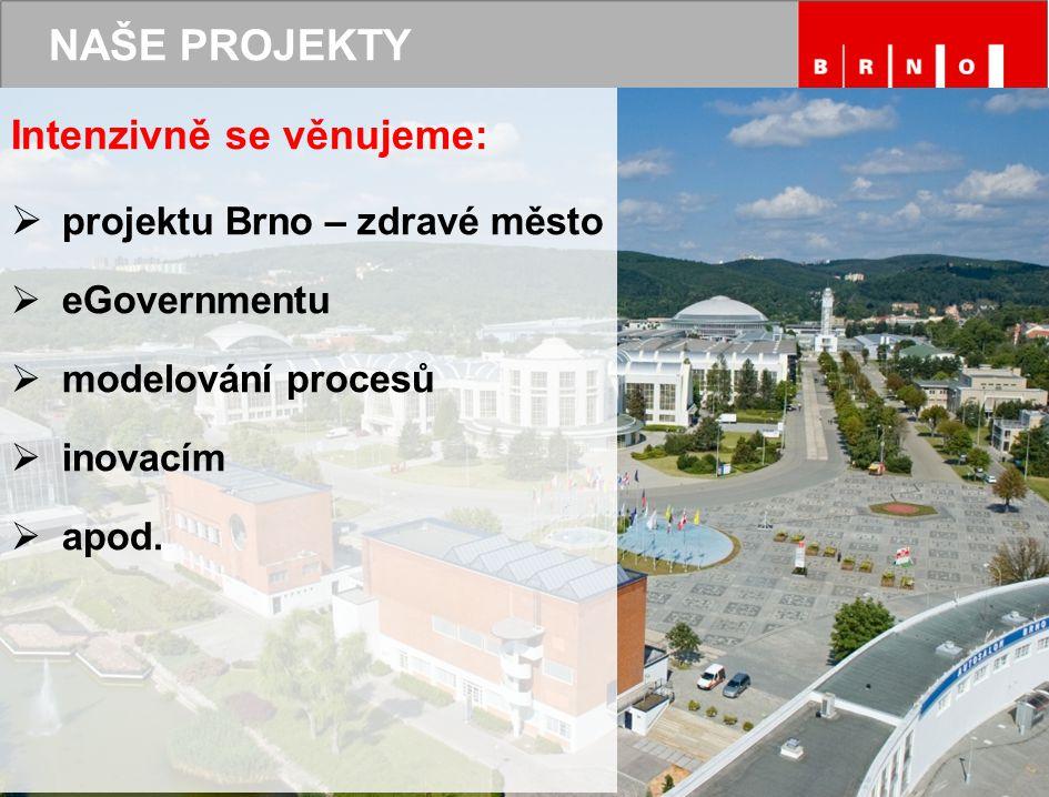 NAŠE PROJEKTY Intenzivně se věnujeme:  projektu Brno – zdravé město  eGovernmentu  modelování procesů  inovacím  apod.