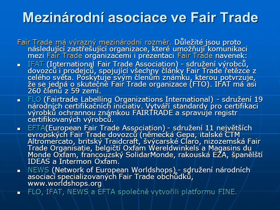 Mezinárodní asociace ve Fair Trade Fair Trade má výrazný mezinárodní rozměr. Důležité jsou proto následující zastřešující organizace, které umožňují k