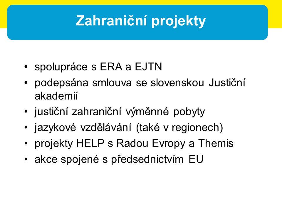 Zahraniční projekty spolupráce s ERA a EJTN podepsána smlouva se slovenskou Justiční akademií justiční zahraniční výměnné pobyty jazykové vzdělávání (také v regionech) projekty HELP s Radou Evropy a Themis akce spojené s předsednictvím EU