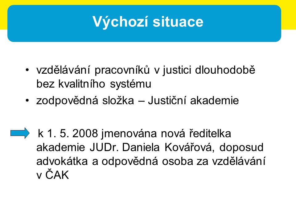 Výchozí situace vzdělávání pracovníků v justici dlouhodobě bez kvalitního systému zodpovědná složka – Justiční akademie k 1. 5. 2008 jmenována nová ře