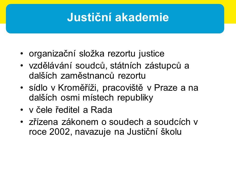 Justiční akademie organizační složka rezortu justice vzdělávání soudců, státních zástupců a dalších zaměstnanců rezortu sídlo v Kroměříži, pracoviště