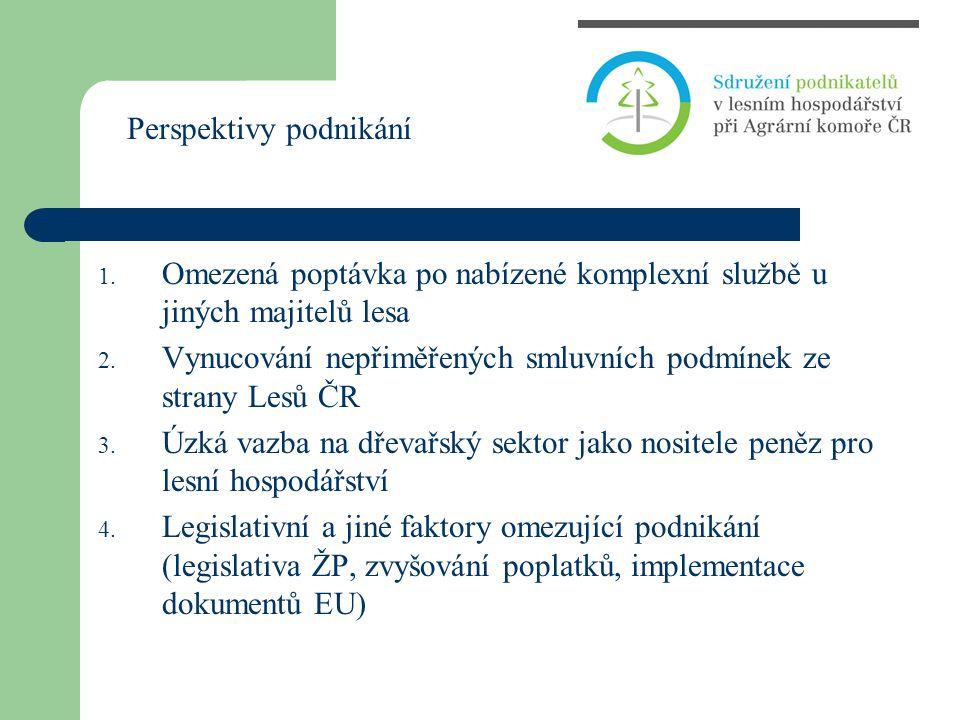 1. Omezená poptávka po nabízené komplexní službě u jiných majitelů lesa 2. Vynucování nepřiměřených smluvních podmínek ze strany Lesů ČR 3. Úzká vazba