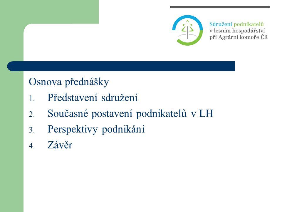 Osnova přednášky 1. Představení sdružení 2. Současné postavení podnikatelů v LH 3. Perspektivy podnikání 4. Závěr