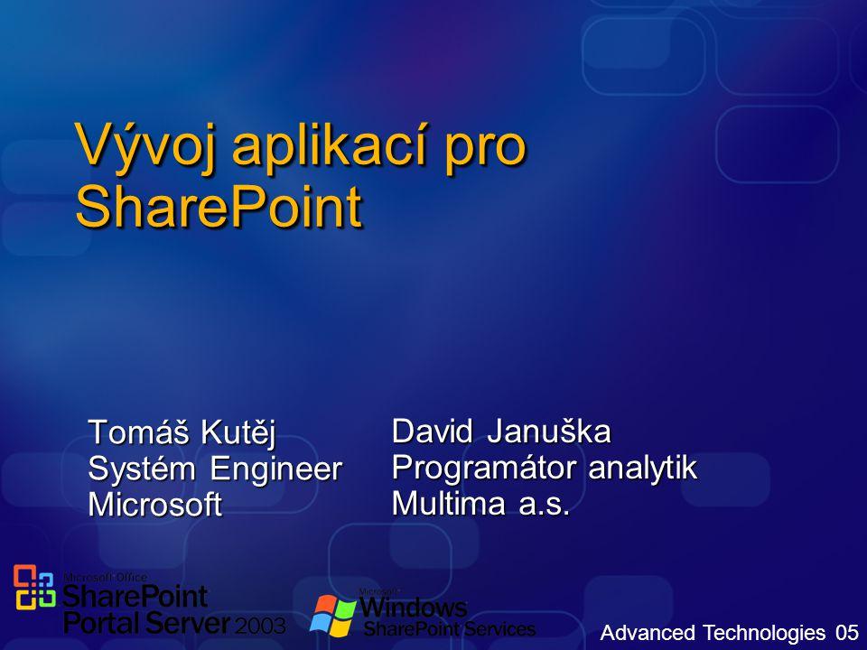 Advanced Technologies 05 Vývoj aplikací pro SharePoint Tomáš Kutěj Systém Engineer Microsoft David Januška Programátor analytik Multima a.s.