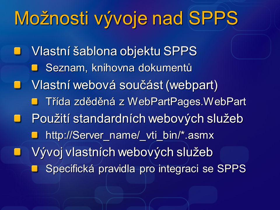 Možnosti vývoje nad SPPS Vlastní šablona objektu SPPS Seznam, knihovna dokumentů Vlastní webová součást (webpart) Třída zděděná z WebPartPages.WebPart Použití standardních webových služeb http://Server_name/_vti_bin/*.asmx Vývoj vlastních webových služeb Specifická pravidla pro integraci se SPPS