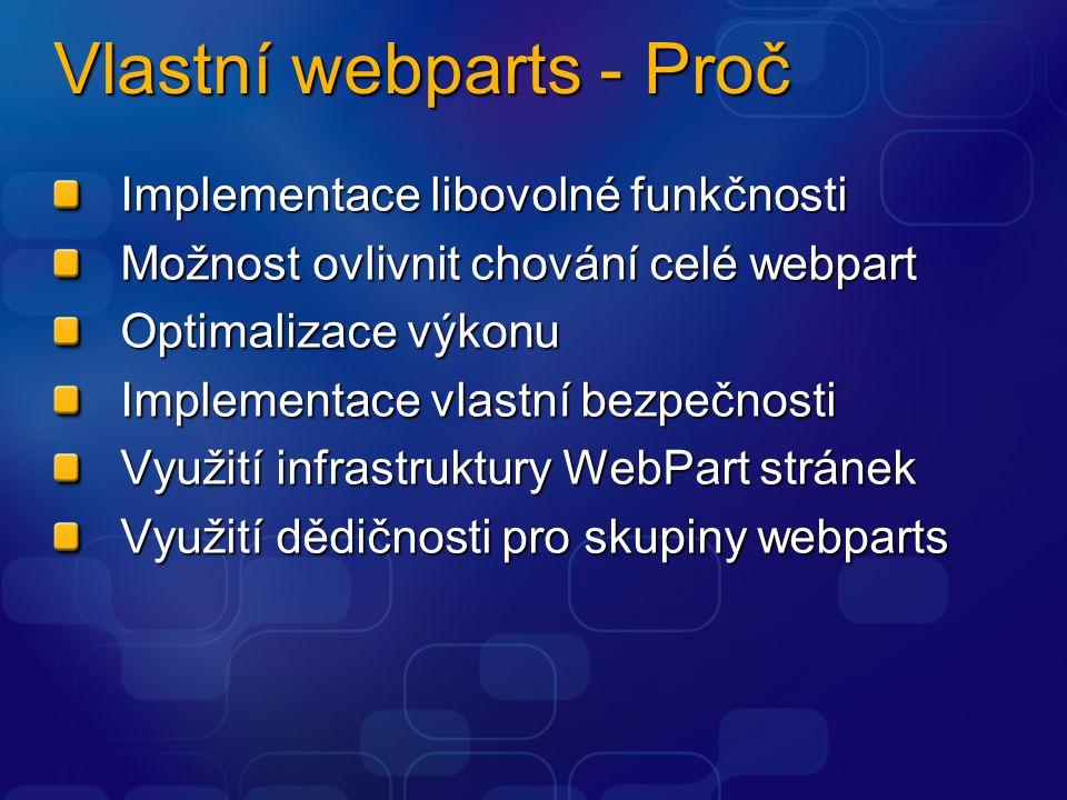 Vlastní webparts - Proč Implementace libovolné funkčnosti Možnost ovlivnit chování celé webpart Optimalizace výkonu Implementace vlastní bezpečnosti Využití infrastruktury WebPart stránek Využití dědičnosti pro skupiny webparts