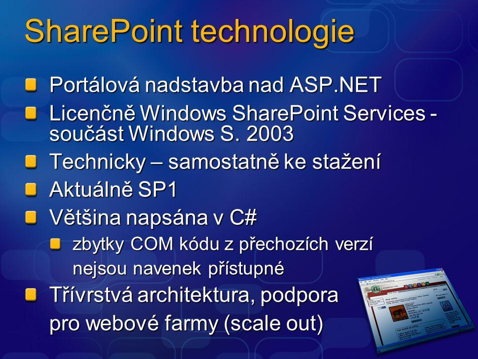 SharePoint technologie Portálová nadstavba nad ASP.NET Licenčně Windows SharePoint Services - součást Windows S. 2003 Technicky – samostatně ke stažen