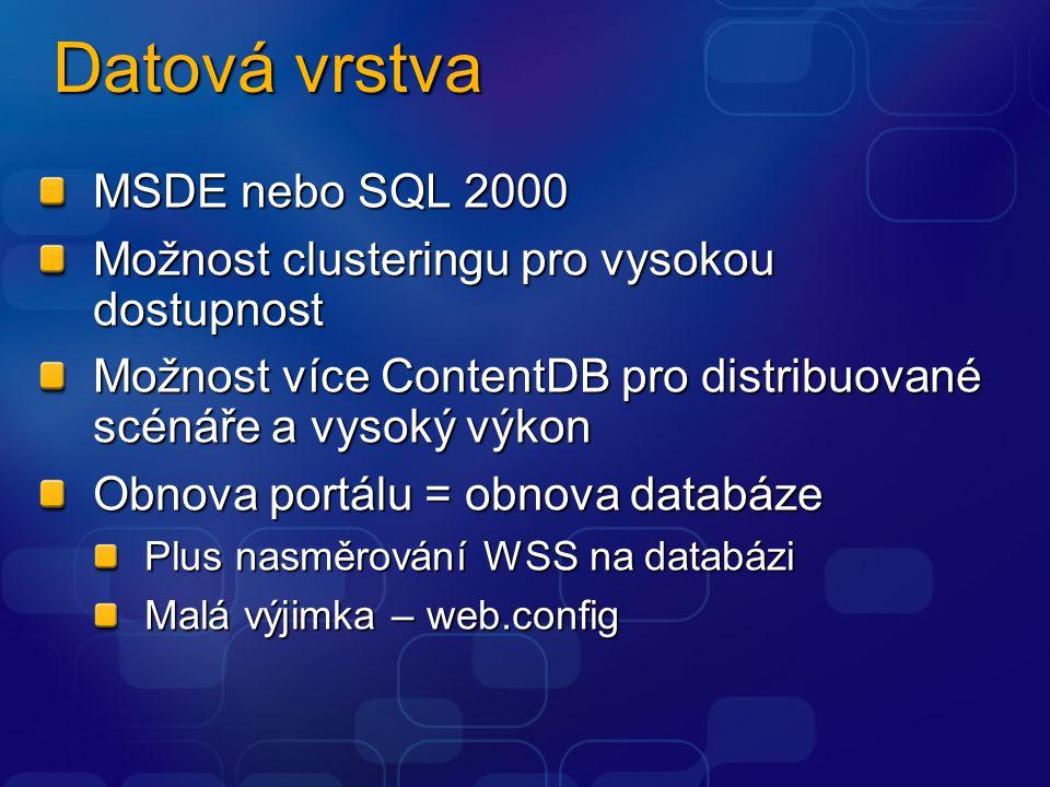 Datová vrstva MSDE nebo SQL 2000 Možnost clusteringu pro vysokou dostupnost Možnost více ContentDB pro distribuované scénáře a vysoký výkon Obnova portálu = obnova databáze Plus nasměrování WSS na databázi Malá výjimka – web.config