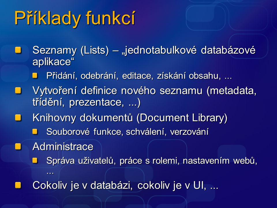"""Příklady funkcí Seznamy (Lists) – """"jednotabulkové databázové aplikace Přidání, odebrání, editace, získání obsahu,..."""