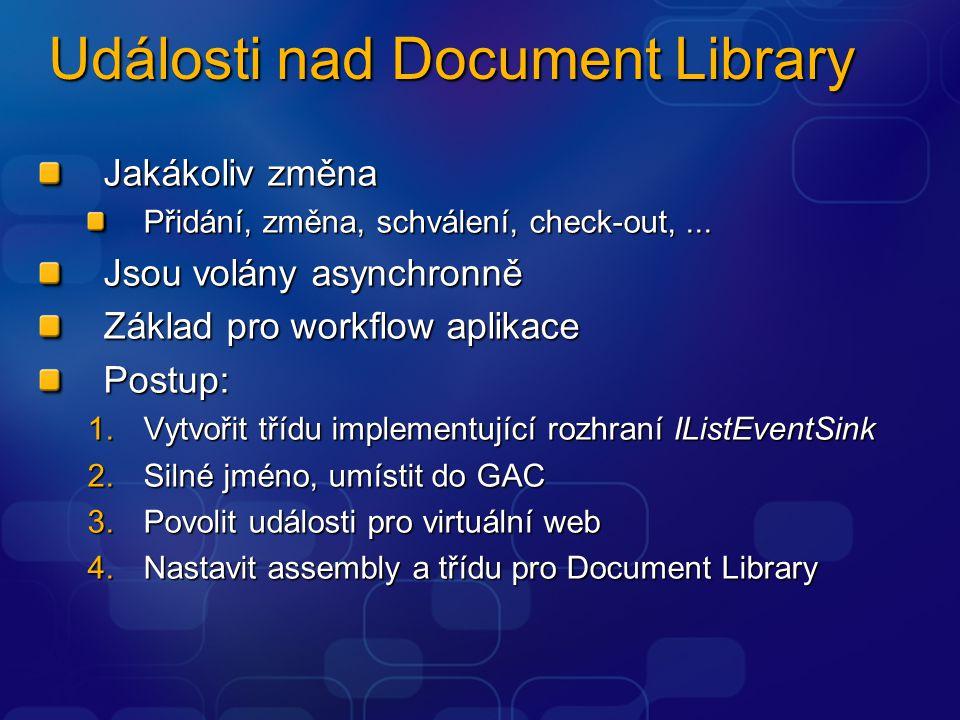 Události nad Document Library Jakákoliv změna Přidání, změna, schválení, check-out,... Jsou volány asynchronně Základ pro workflow aplikace Postup: 1.