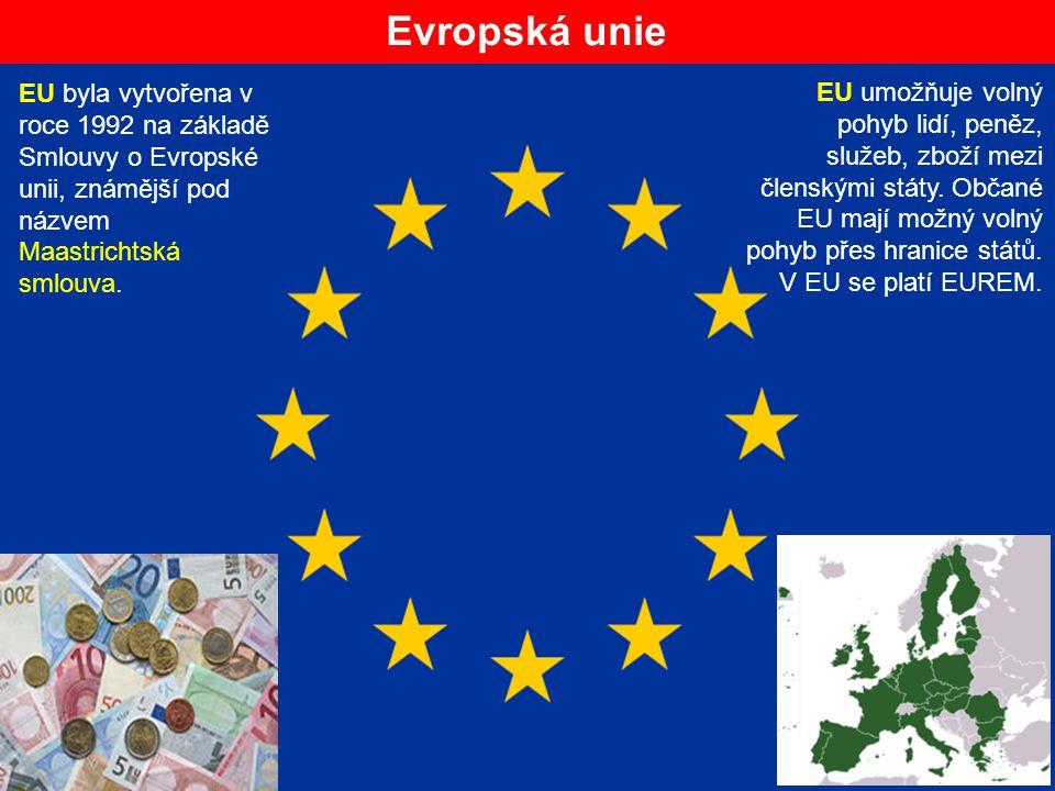 Evropská unie EU byla vytvořena v roce 1992 na základě Smlouvy o Evropské unii, známější pod názvem Maastrichtská smlouva. EU umožňuje volný pohyb lid