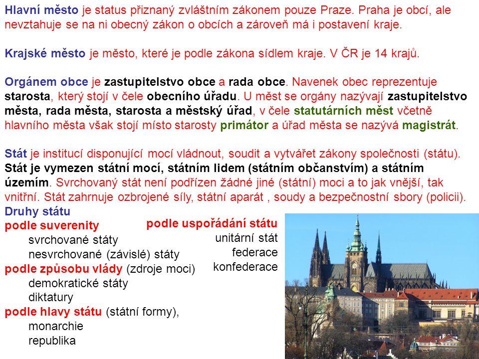 Hlavní město je status přiznaný zvláštním zákonem pouze Praze. Praha je obcí, ale nevztahuje se na ni obecný zákon o obcích a zároveň má i postavení k