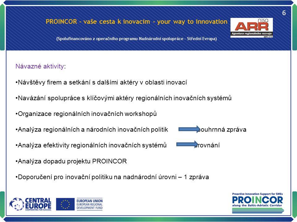 PROINCOR - vaše cesta k inovacím - your way to innovation (Spolufinancováno z operačního programu Nadnárodní spolupráce – Střední Evropa) 6 Návazné ak