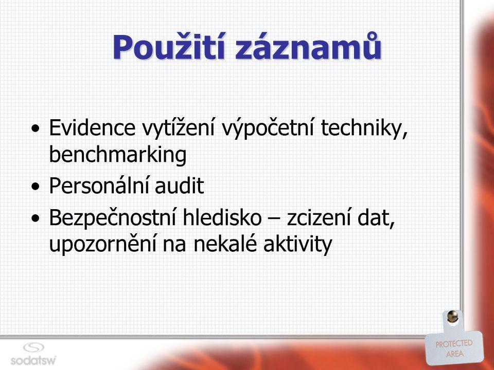 Použití záznamů Evidence vytížení výpočetní techniky, benchmarking Personální audit Bezpečnostní hledisko – zcizení dat, upozornění na nekalé aktivity