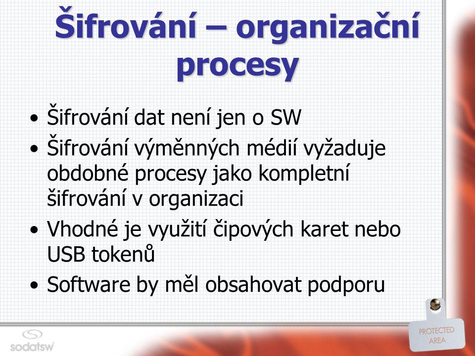 Šifrování – organizační procesy Šifrování dat není jen o SW Šifrování výměnných médií vyžaduje obdobné procesy jako kompletní šifrování v organizaci Vhodné je využití čipových karet nebo USB tokenů Software by měl obsahovat podporu
