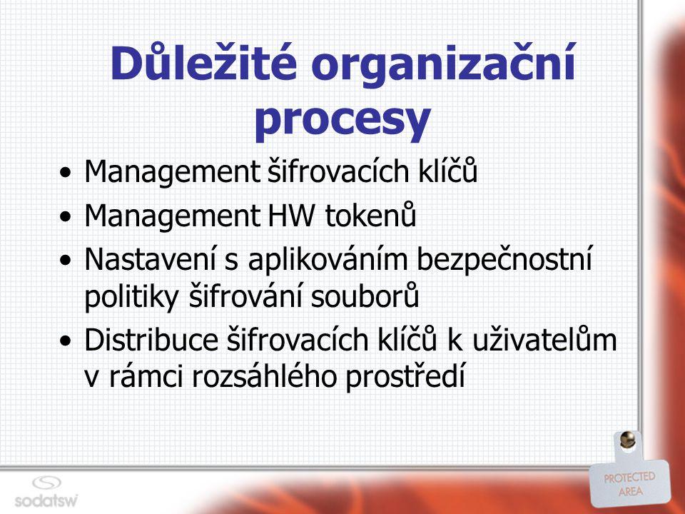 Důležité organizační procesy Management šifrovacích klíčů Management HW tokenů Nastavení s aplikováním bezpečnostní politiky šifrování souborů Distribuce šifrovacích klíčů k uživatelům v rámci rozsáhlého prostředí