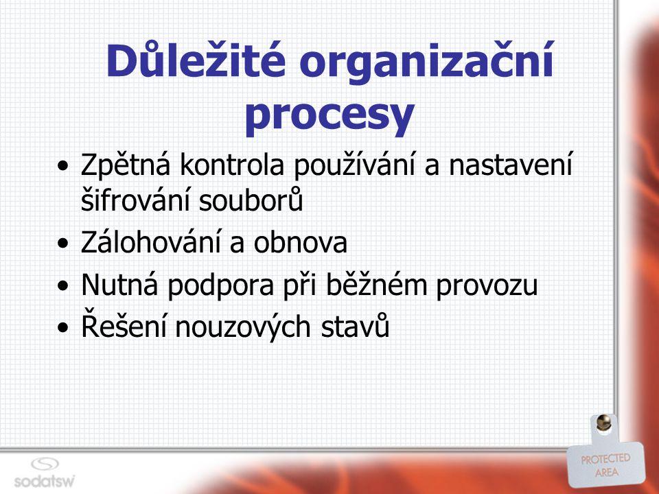 Důležité organizační procesy Zpětná kontrola používání a nastavení šifrování souborů Zálohování a obnova Nutná podpora při běžném provozu Řešení nouzových stavů