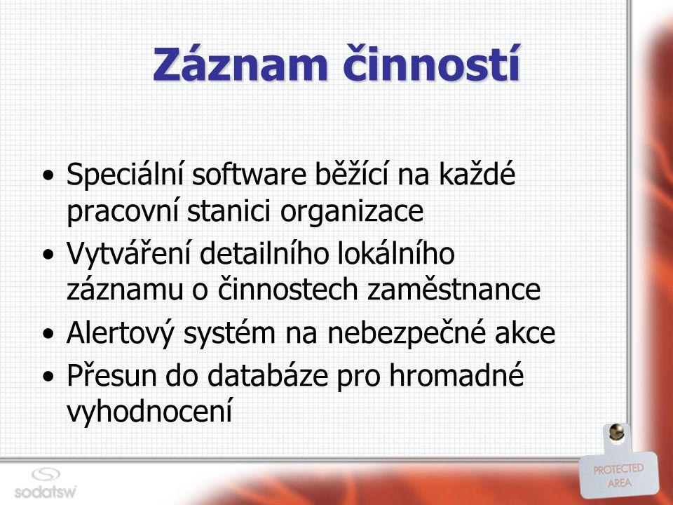 Záznam činností Speciální software běžící na každé pracovní stanici organizace Vytváření detailního lokálního záznamu o činnostech zaměstnance Alertový systém na nebezpečné akce Přesun do databáze pro hromadné vyhodnocení