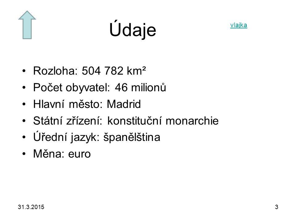 31.3.20153 Údaje Rozloha: 504 782 km² Počet obyvatel: 46 milionů Hlavní město: Madrid Státní zřízení: konstituční monarchie Úřední jazyk: španělština Měna: euro vlajka