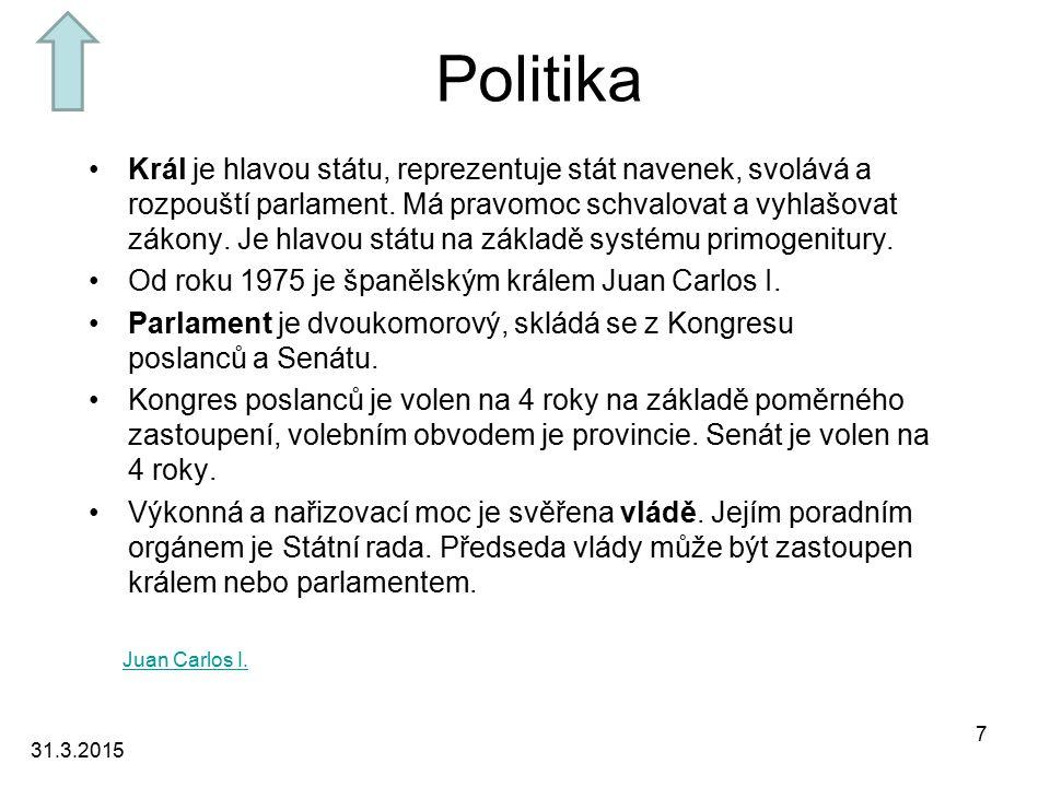 Politika Král je hlavou státu, reprezentuje stát navenek, svolává a rozpouští parlament.