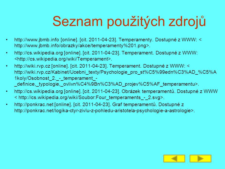 Seznam použitých zdrojů http://www.jbmb.info [online]. [cit. 2011-04-23]. Temperamenty. Dostupné z WWW:. http://cs.wikipedia.org [online]. [cit. 2011-