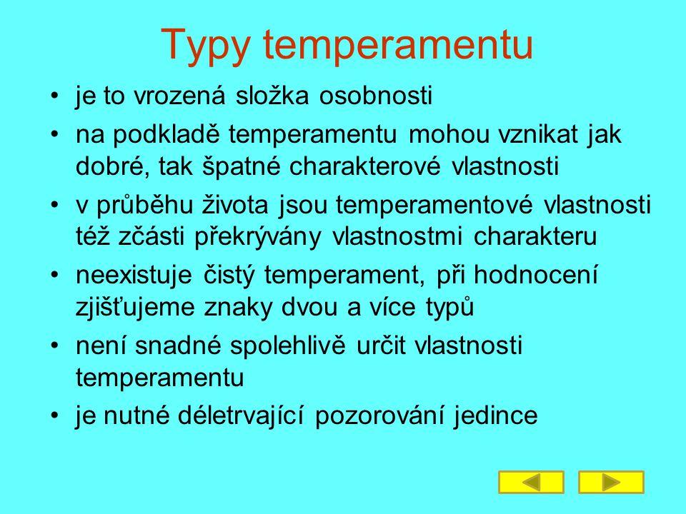 Typy temperamentu je to vrozená složka osobnosti na podkladě temperamentu mohou vznikat jak dobré, tak špatné charakterové vlastnosti v průběhu života