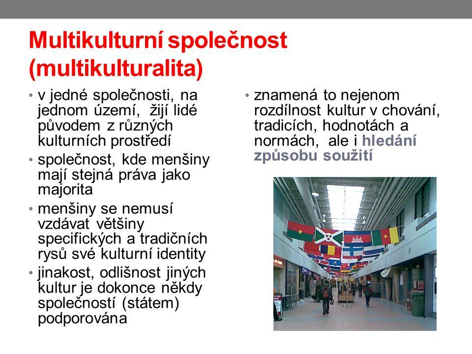 Multikulturní společnost (multikulturalita) v jedné společnosti, na jednom území, žijí lidé původem z různých kulturních prostředí společnost, kde men