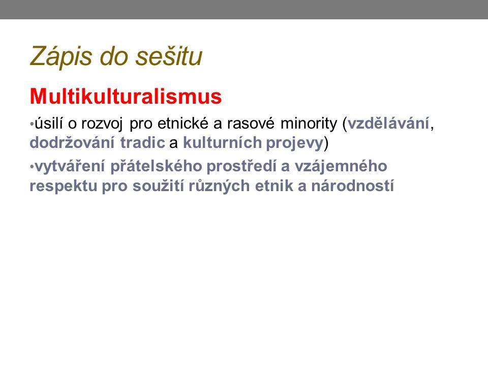 Zápis do sešitu Multikulturalismus úsilí o rozvoj pro etnické a rasové minority (vzdělávání, dodržování tradic a kulturních projevy) vytváření přátels