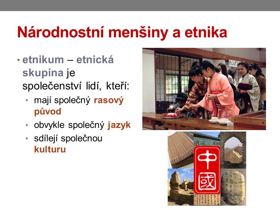 Národnostní menšiny a etnika národnostní (etnická) menšina je společenství občanů žijících na území současné České republiky, kteří se odlišují od ostatních občanů společným etnickým původem jazykem kulturou tradicemi je to tedy každá skupina lidí, která se odlišuje významnými etnickými znaky od většinové společnosti jazykem, kulturními tradicemi, mentalitou atd.