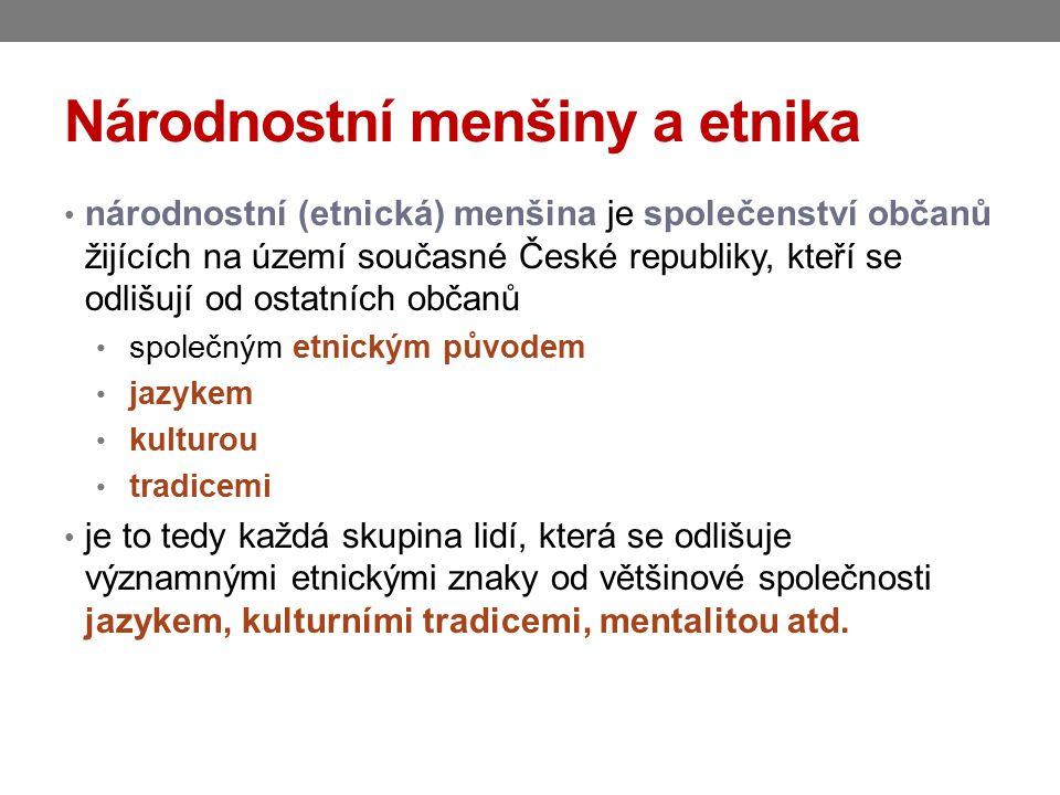Národnostní menšiny a etnika národnostní (etnická) menšina je společenství občanů žijících na území současné České republiky, kteří se odlišují od os