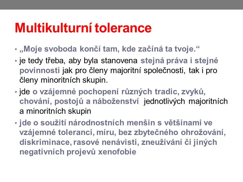"""Multikulturní tolerance """"Moje svoboda končí tam, kde začíná ta tvoje."""" je tedy třeba, aby byla stanovena stejná práva i stejné povinnosti jak pro člen"""