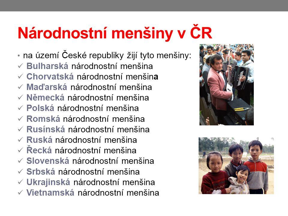 Národnostní menšiny v ČR na území České republiky žijí tyto menšiny: Bulharská národnostní menšina Chorvatská národnostní menšina Maďarská národnostní