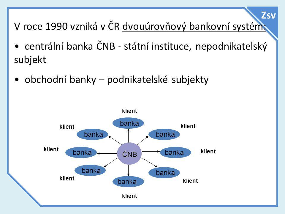 V roce 1990 vzniká v ČR dvouúrovňový bankovní systém: centrální banka ČNB - státní instituce, nepodnikatelský subjekt obchodní banky – podnikatelské s