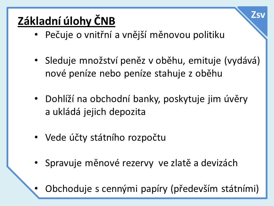 Zsv Řízení ČNB Nejvyšším řídícím orgánem České národní banky je sedmičlenná bankovní rada.