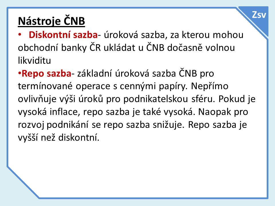 Zsv Nástroje ČNB Diskontní sazba- úroková sazba, za kterou mohou obchodní banky ČR ukládat u ČNB dočasně volnou likviditu Repo sazba- základní úroková