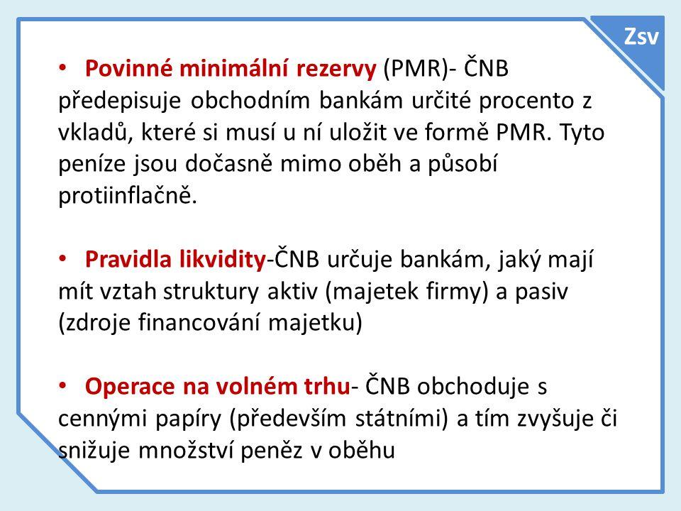 Zsv Povinné minimální rezervy (PMR)- ČNB předepisuje obchodním bankám určité procento z vkladů, které si musí u ní uložit ve formě PMR. Tyto peníze js