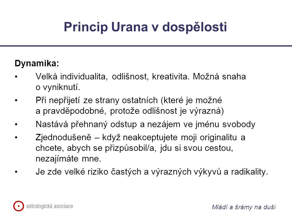 Mládí a šrámy na duši Princip Urana v dospělosti Dynamika: Velká individualita, odlišnost, kreativita.