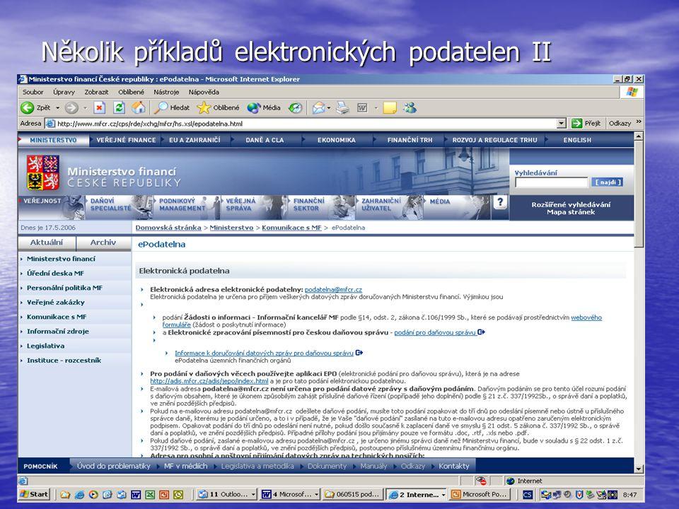 Několik příkladů elektronických podatelen II