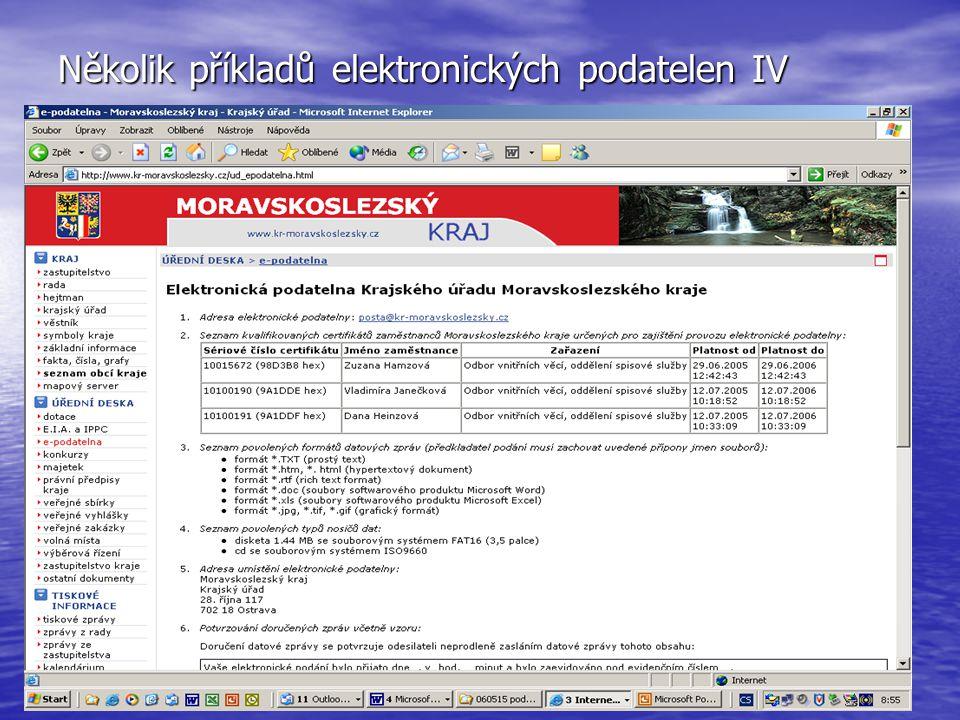 Několik příkladů elektronických podatelen IV