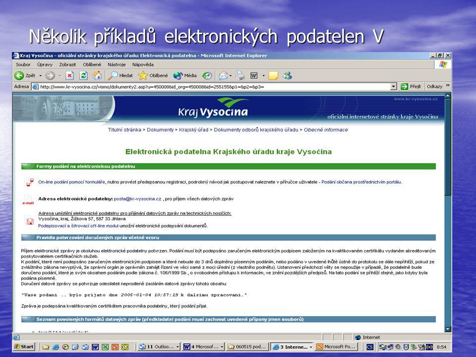 Několik příkladů elektronických podatelen V