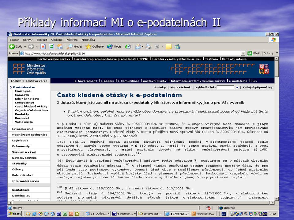 Příklady informací MI o e-podatelnách II