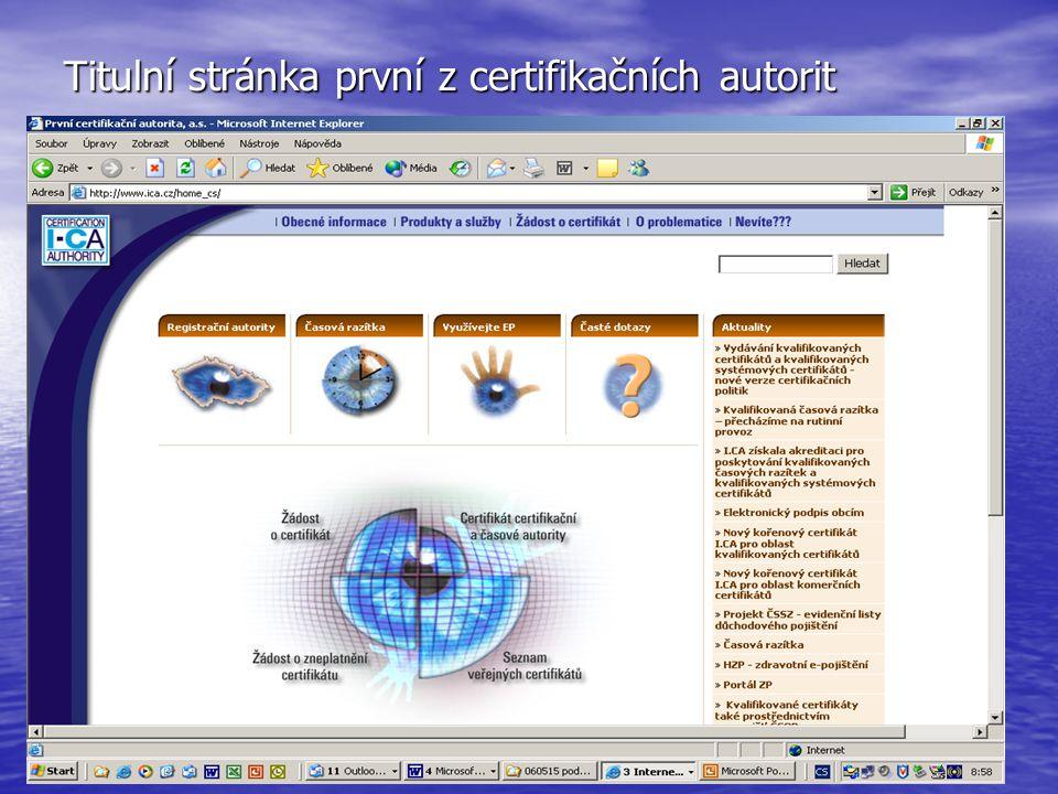 Titulní stránka první z certifikačních autorit