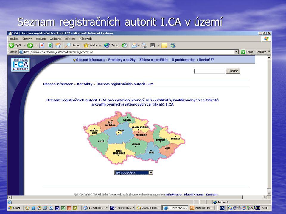 Seznam registračních autorit I.CA v území