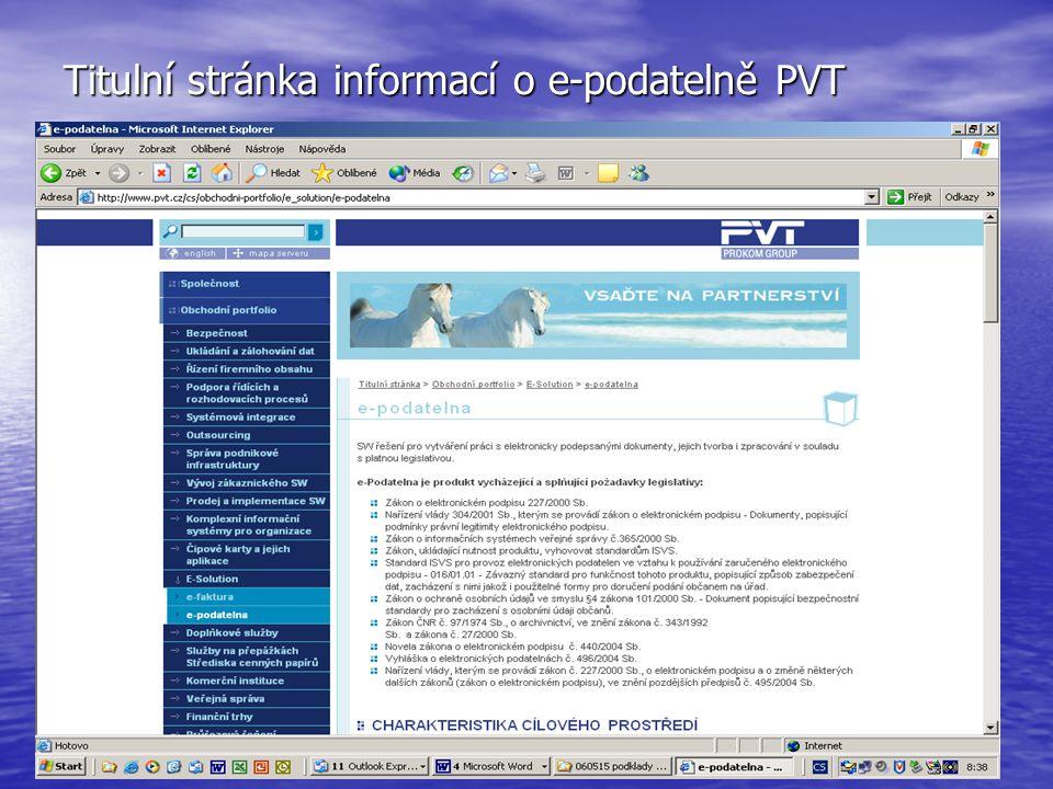 Titulní stránka informací o e-podatelně PVT