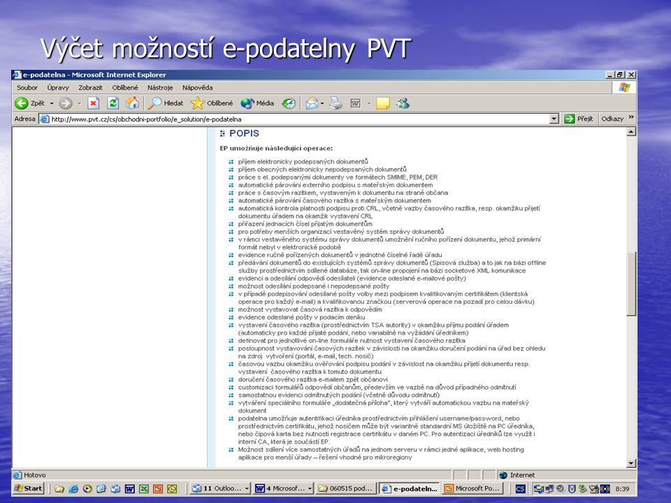 Výčet možností e-podatelny PVT