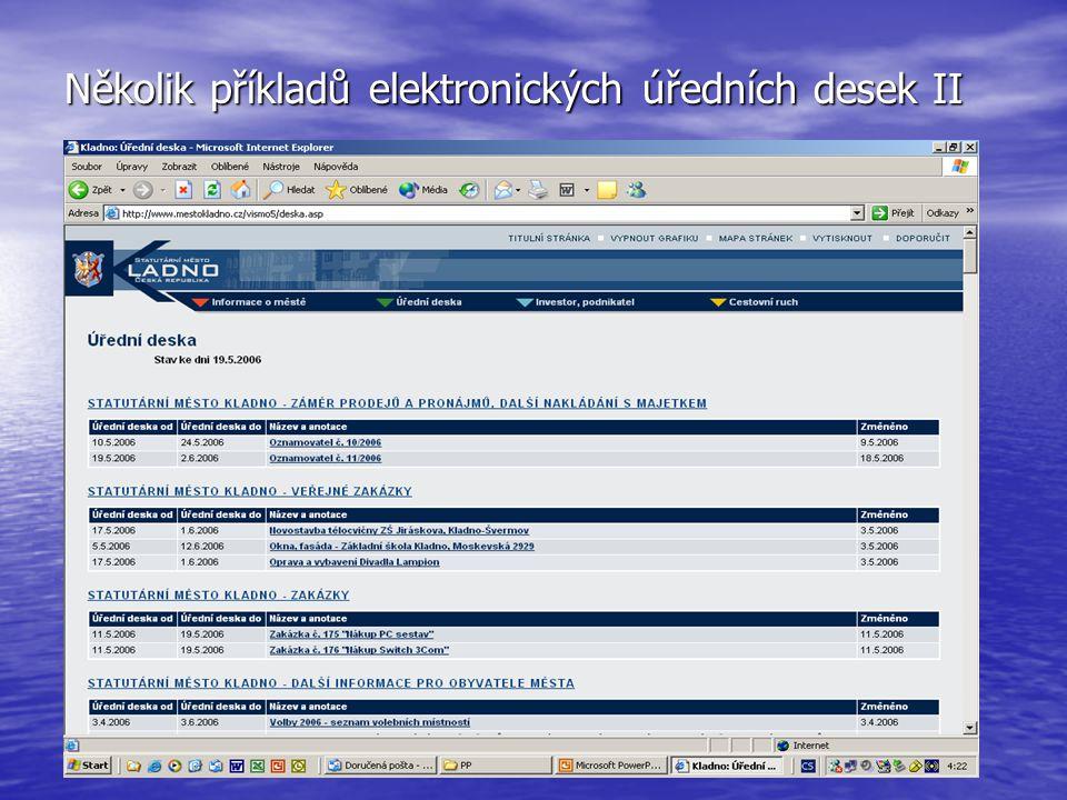 Několik příkladů elektronických úředních desek II