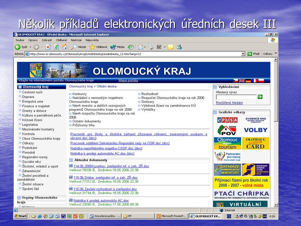 Několik příkladů elektronických úředních desek III